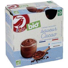 AUCHAN BABY BIO Gourde crème dessert saveur cacao dès 10 mois 4x85g