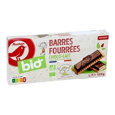AUCHAN BIO Barres au chocolat fourrées au lait 125g