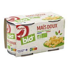 AUCHAN BIO Maïs doux en grains bio sans sucres ajoutés 2x140g