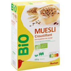 AUCHAN BIO Muesli de céréales croustillant lin et graines de courge 500g
