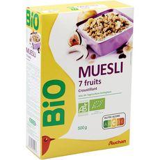 AUCHAN BIO Muesli de céréales croustillant aux 7 fruits 500g
