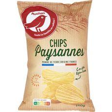 AUCHAN Chips paysannes ondulées nature à l'huile de tournesol 150g
