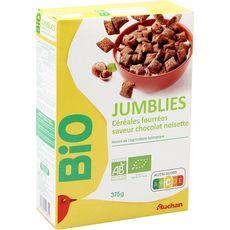 AUCHAN BIO Jumblies céréales fourrées saveur chocolat noisette 375g