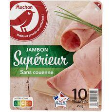 AUCHAN Jambon blanc supérieur sans couenne 10 tranches 450g