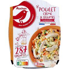 AUCHAN Tagliatelles au poulet à la crème et légumes allégé 1 portion 300g