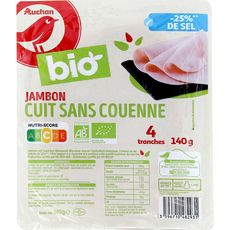 AUCHAN BIO Jambon blanc supérieur découenné dégraissé teneur en sel réduite 4 tranches 140g