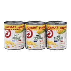 Auchan Maïs croquant sans residu de pesticides 3x165g