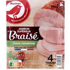 AUCHAN Jambon blanc supérieur cuit braisé sans couenne 4 tranches 160g