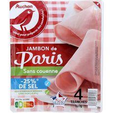 AUCHAN Jambon blanc de Paris -25% de sel sans couenne 4 tranches 120g