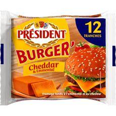 PRESIDENT Cheddar et emmental pour hamburger 12 tranches 200g