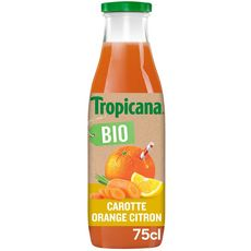 TROPICANA 100% fruits et légumes pressés carotte orange citron bio 75cl
