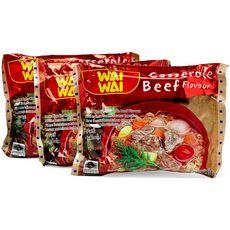 WAI WAI Nouilles asiatiques instantanées saveur bœuf 3X60g