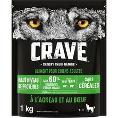 CRAVE Croquettes agneau et boeuf pour chien 1kg