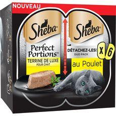 SHEBA Perfect portion barquettes terrine pâtée de poulet pour chat 6x37,5g