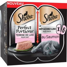 SHEBA Perfect portion barquettes terrine pâtée de saumon pour chat 6x37,5g