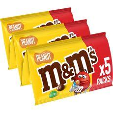 M&M'S Peanut bonbons chocolatés à la cacahuète 5 pochons 5x45g