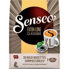 SENSEO Maxi dosettes de café compostables extra long classique  20 dosettes 250g