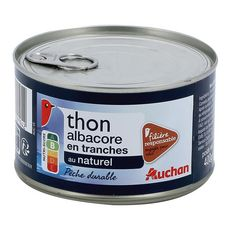 AUCHAN Thon albacore au naturel filière responsable 280g