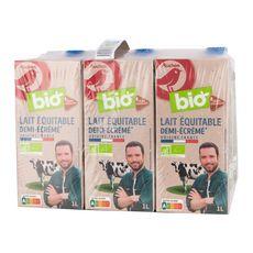 Auchan bio Lait demi-écrémé UHT filière responsable 6x1l