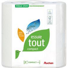 AUCHAN Essuie-tout compact ouate 100% recyclée 2 rouleaux