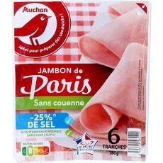 AUCHAN Jambon blanc de Paris -25% de sel sans couenne 6 tranches 180g