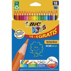 Bic kids évolution crayons de couleur x18