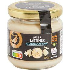 AUCHAN GOURMET Pâte à tartiner au chocolat blanc sans huile de palme 200g