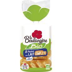 LA BOULANGERE Pain au lait bio à la farine complète 8 pièces 280g