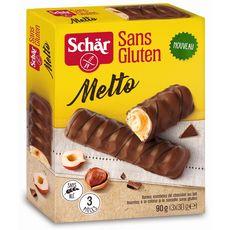 SCHAR Melto Barres fourrées à la crème de noisette et enrobées chocolat au lait 3 barres 90g