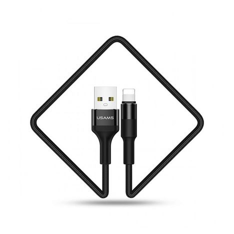 USAMS Câble de charge USB vers Lightning - Mâle/mâle - 1.2 m - Noir