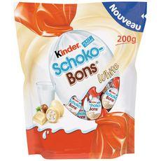 KINDER Schokobons white bonbons au chocolat blanc fourrés lait et noisettes 200g