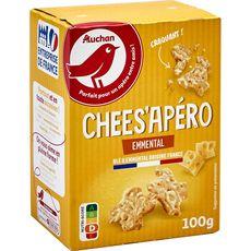 AUCHAN Chees'apéro crackers à l'emmental 100g