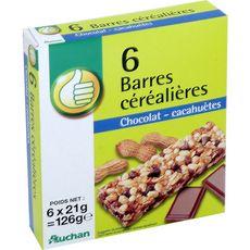 AUCHAN ESSENTIEL Barres de céréales au chocolat et cacahuètes 6 barres 126g