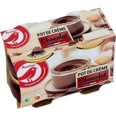 AUCHAN Pot de crème au chocolat 4x100g