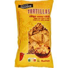 AUCHAN Tortillas chips saveur chili à l'huile de tournesol 400g
