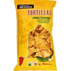 AUCHAN Tortillas chips au fromage à l'huile de tournesol 400g