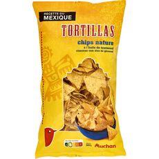 AUCHAN Tortillas chips nature à l'huile de tournesol 400g