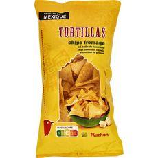 AUCHAN Tortillas chips au fromage à l'huile de tournesol 185g