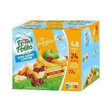 POM'POTES Spécialités aux fruits sans sucres ajoutés x48+24 offertes 6,48kg
