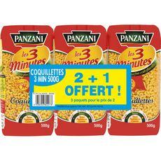 PANZANI Panzani Coquillettes cuisson rapide 3min 2+1 offert 3x500g 3x500g