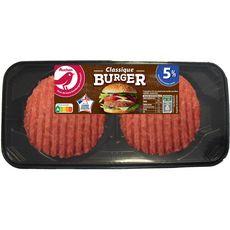 AUCHAN Burger rond 5%mg 2 pièces 180g