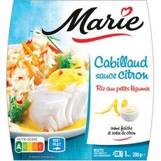 MARIE Cabillaud sauce citron et riz aux petits légumes 1 portion 290g