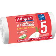 ALFAPAC Sacs poubelle végétal salle de bain liens coulissants 5l 25 sacs