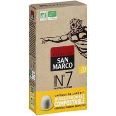 SAN MARCO Café bio n°7 en capsule biodégradable compatible Nespresso 10 capsules 51g