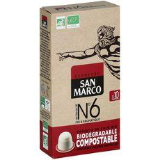 SAN MARCO Café bio n°6 en capsule biodégradable compatible Nespresso 10 capsules 51g