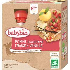 BABYBIO Babybio gourde bio pomme fraise vanille 4x90g dès 6 mois