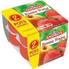 Andros Dessert de fruits de pomme fraise x8 dont 2 offerts 800g