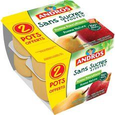 Andros Dessert de fruits de pomme et pomme poire x8 dont 2 offerts 800g