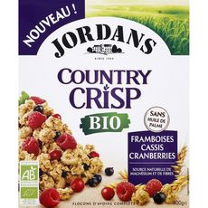 JORDAN'S Jordans Céréales bio flocons avoine framboise cassis cranberries 400g 400g