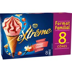 Nestlé EXTREME Cône glacé fraise et vanille